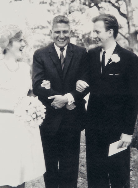John E. Smith with Elizabeth and Robert on their wedding day.