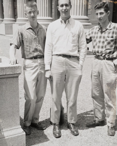 Gary Knoble, Bill Derveniotes and Peter Kirshner in front of the Commons Dining Hall.